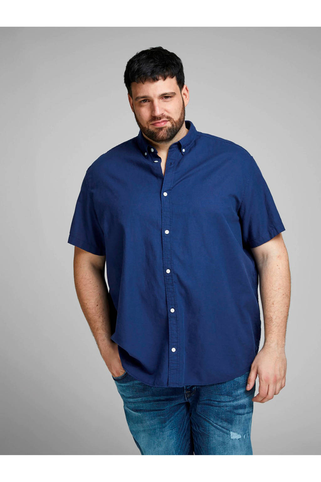 JACK & JONES PLUS SIZE overhemd lichtblauw, Donkerblauw