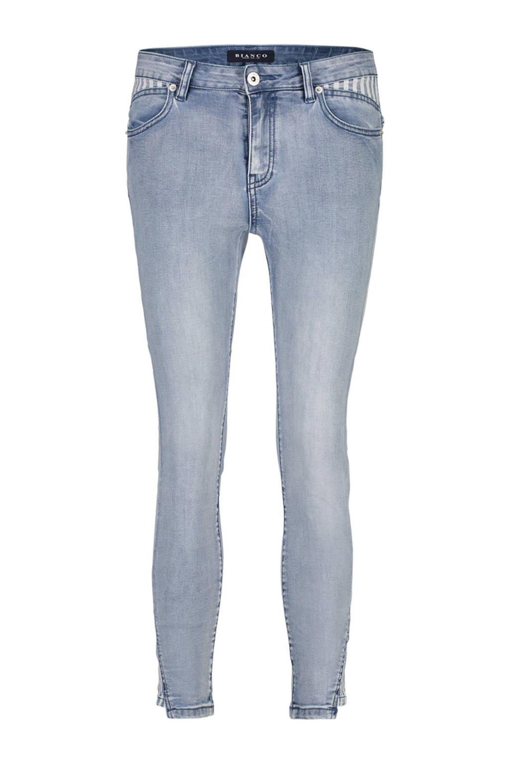 Bianco Jeans skinny fit jeans Lux met contrasterende details, Blauw