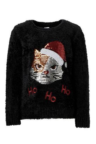 Here & There fluffy kersttrui met pailletten zwart
