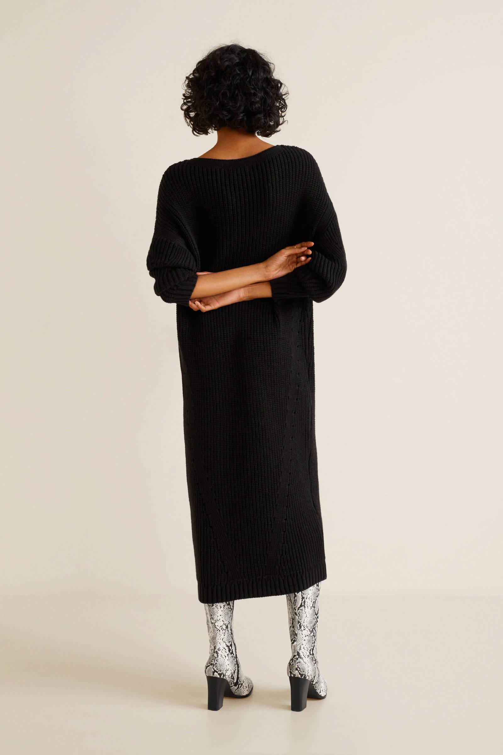 e9421608f0f67b Mango lange gebreide jurk zwart