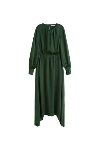 jurk met pofmouwen donkergroen