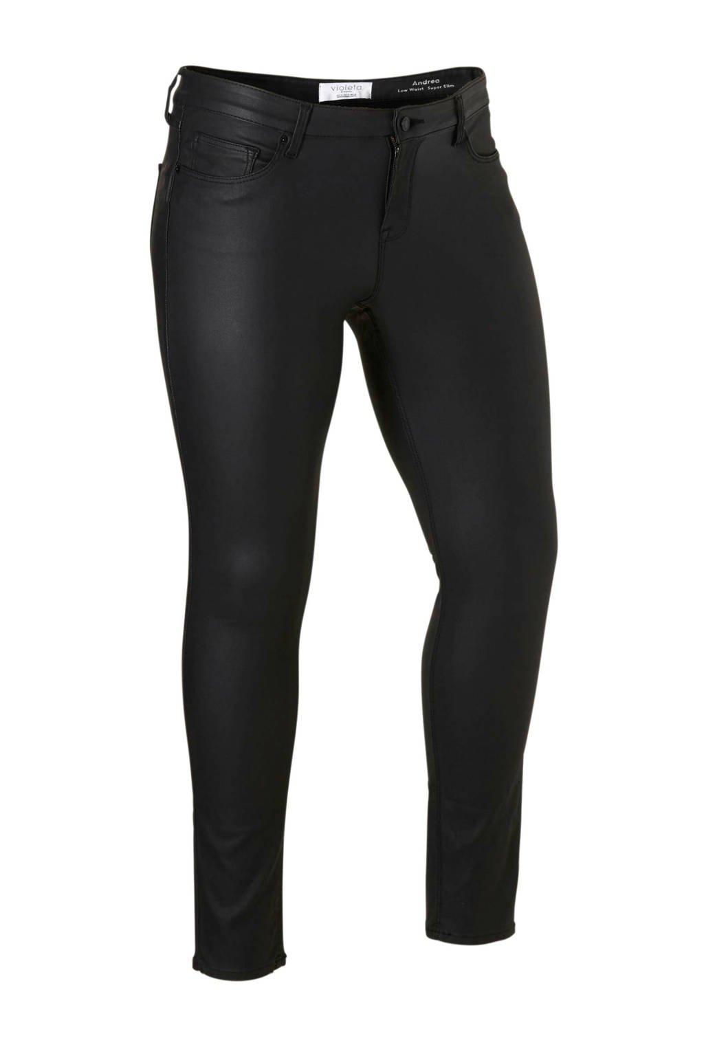 Violeta by Mango coated low waist slim fit broek zwart, Zwart