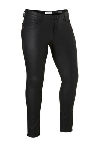 coated low waist slim fit broek zwart