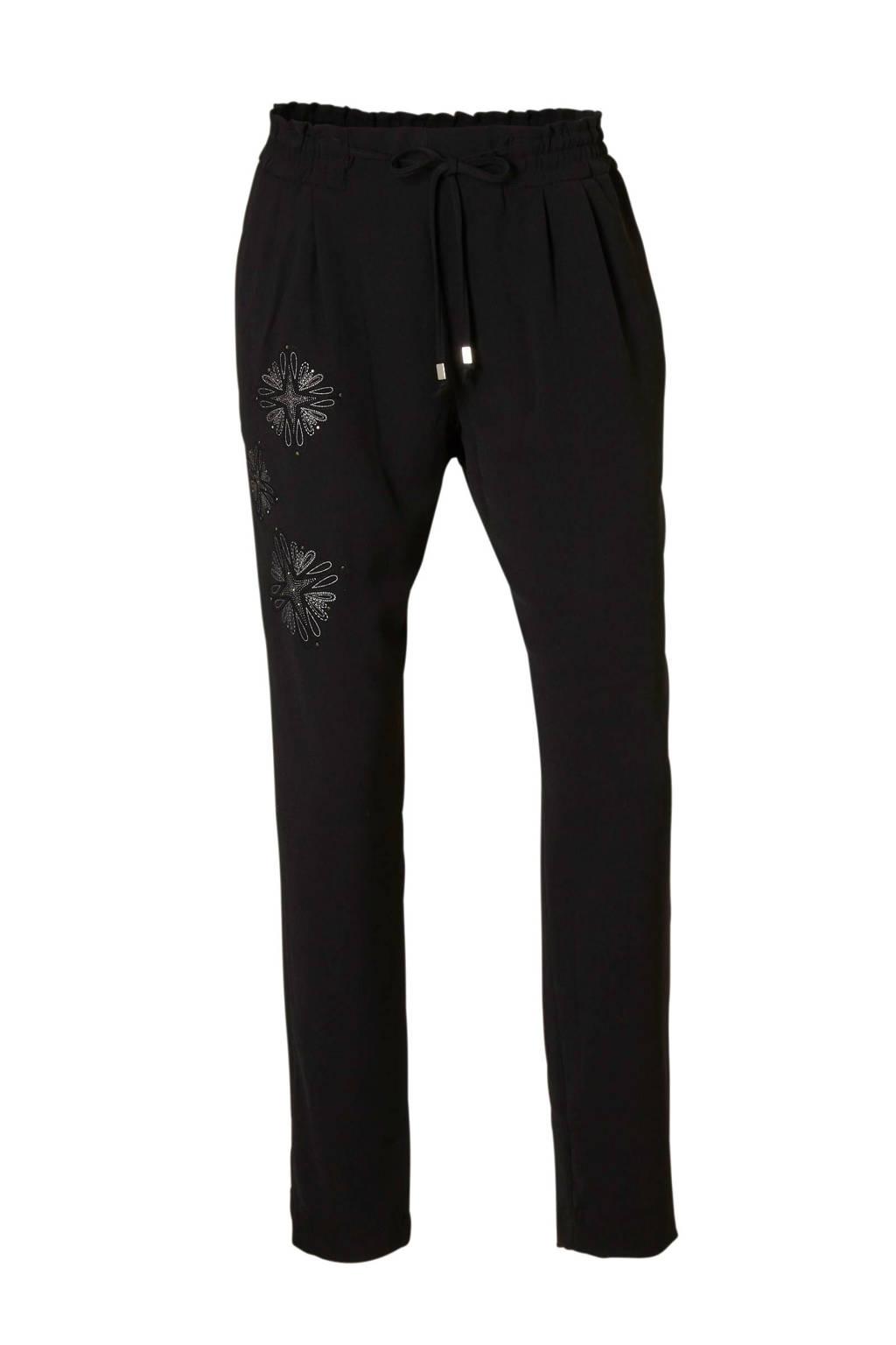 Desigual gebloemde slim fit broek zwart/ zilver