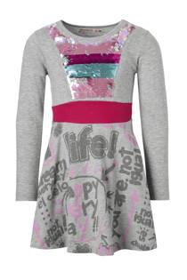 Desigual jurk met omkeerbare pailletten grijs