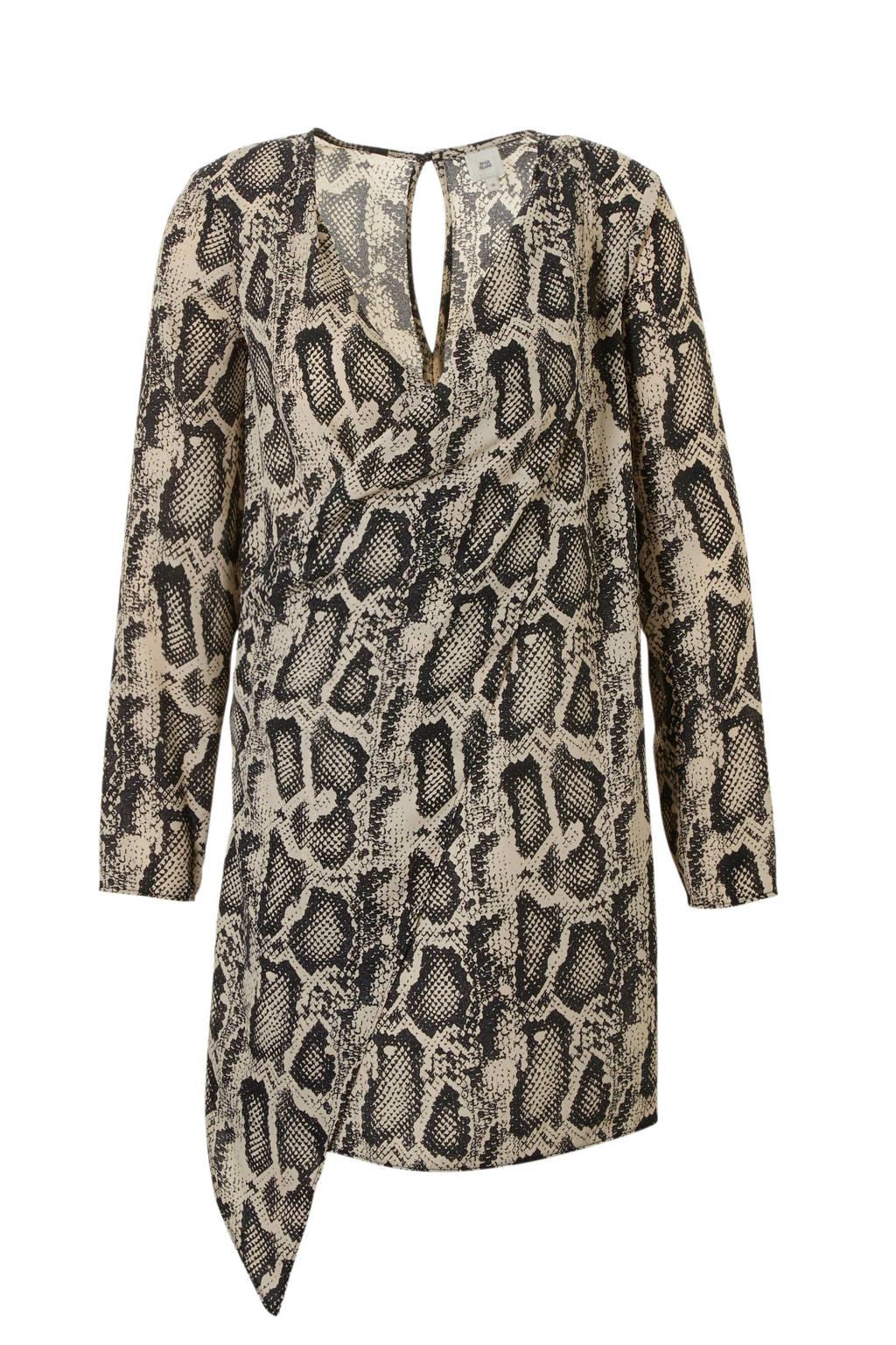 River Island jurk met slangenprint, beige/ zwart