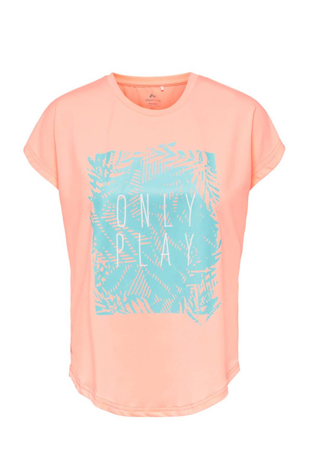 Only Play sport T-shirt neon oranje, Neon oranje