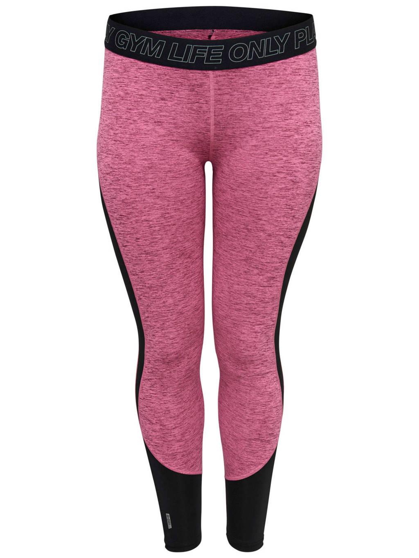 Only Play Curvy sportbroek roze, Roze melange/zwart