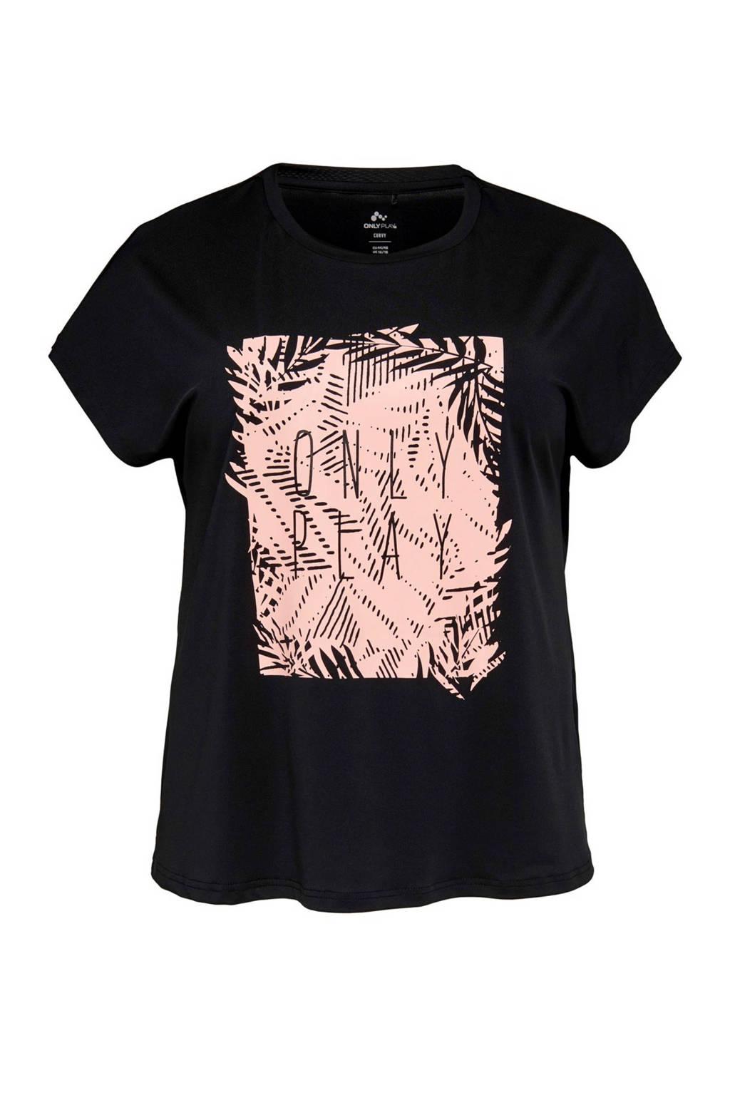 Only Play Curvy sport T-shirt zwart, Zwart