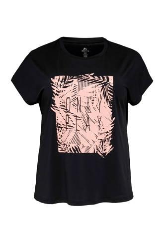 Curvy sport T-shirt zwart