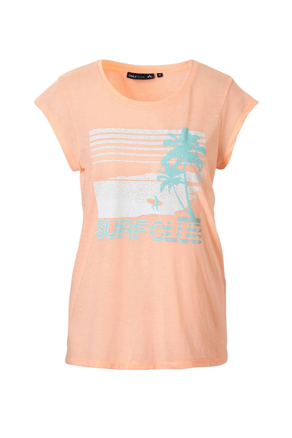 Only Play sport T-shirt oranje, Oranje/wit/lichtblauw