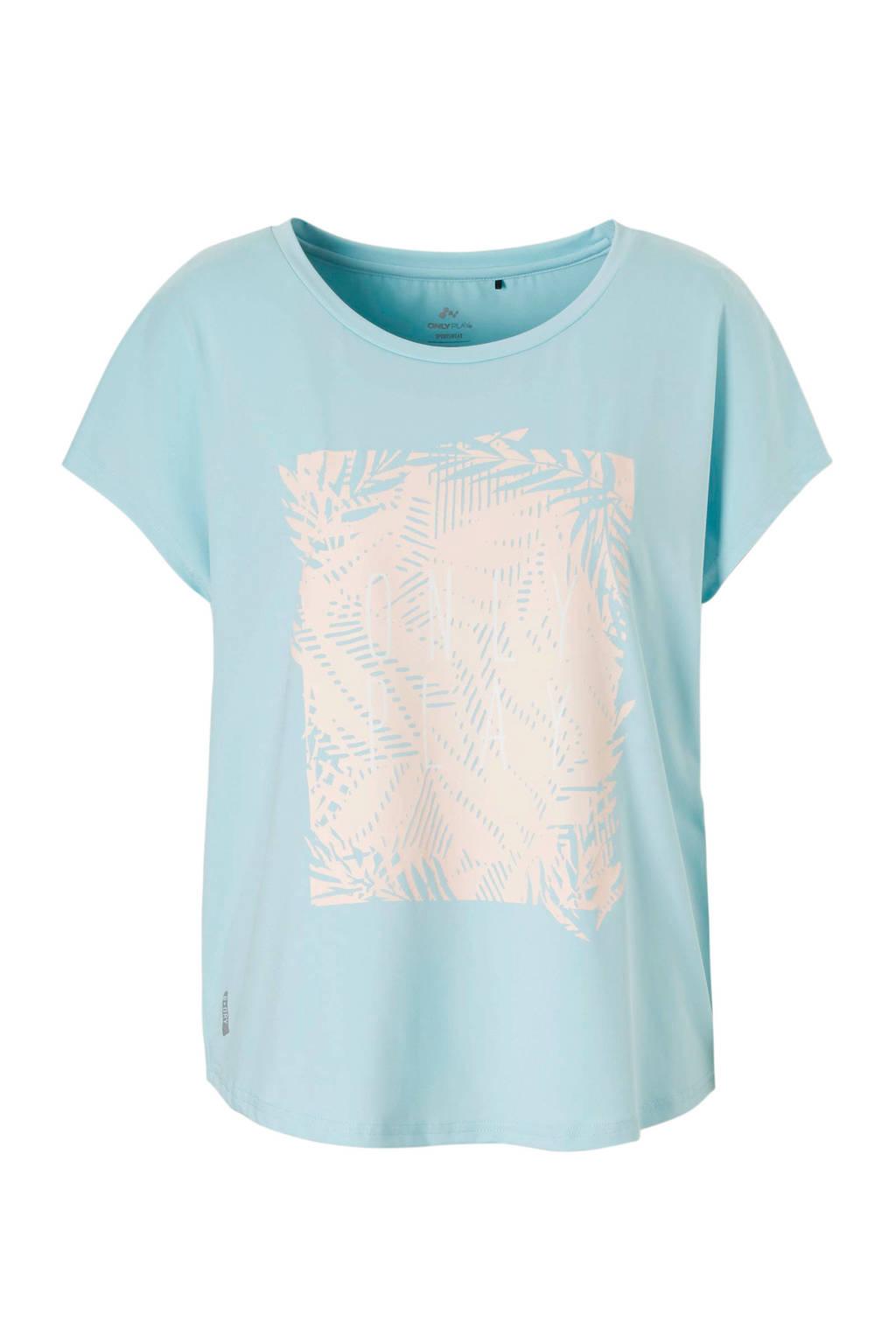 Only Play sport T-shirt lichtblauw, Lichtblauw/lichtroze