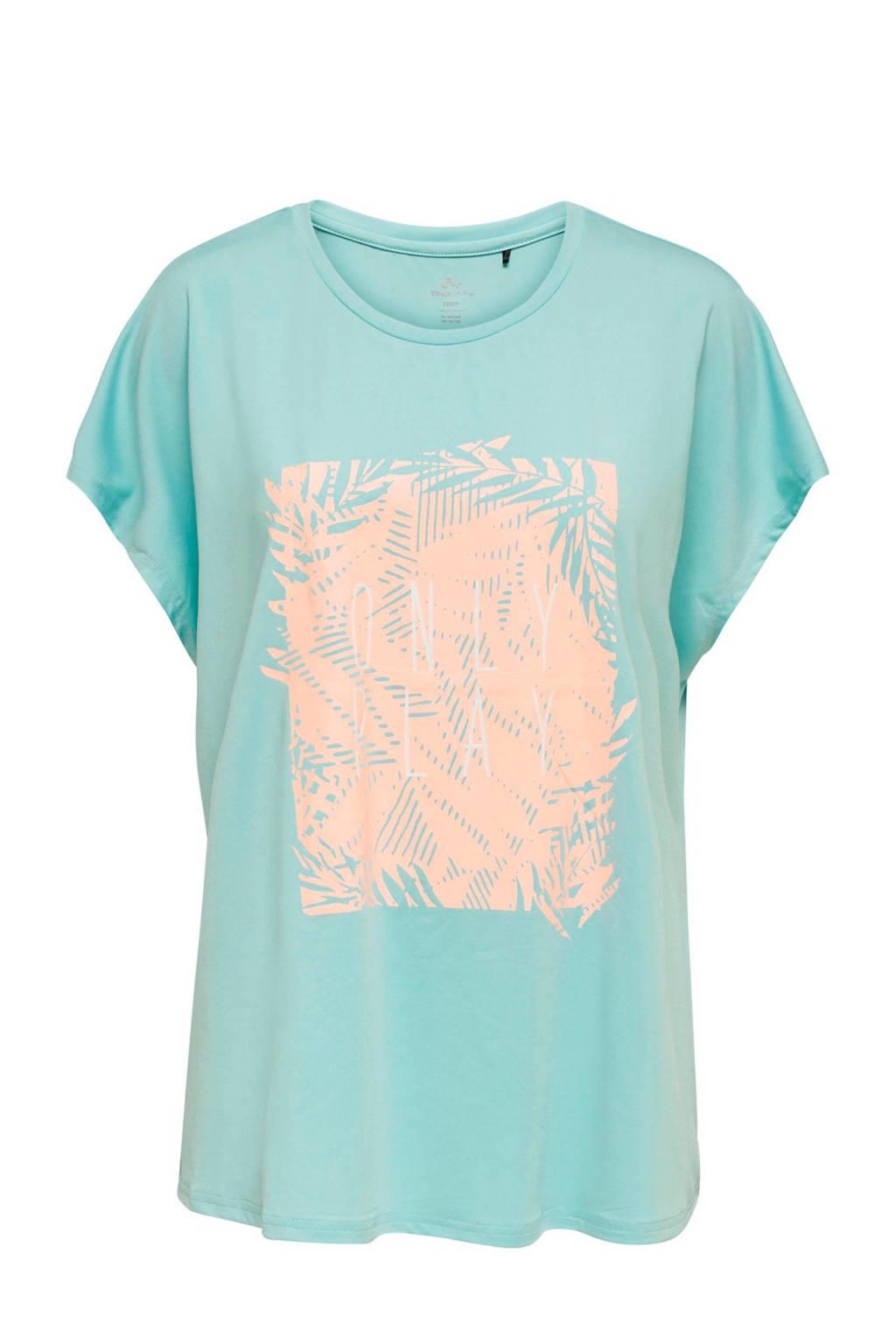 Only Play Curvy sport T-shirt lichtblauw, Lichtblauw/Oranje