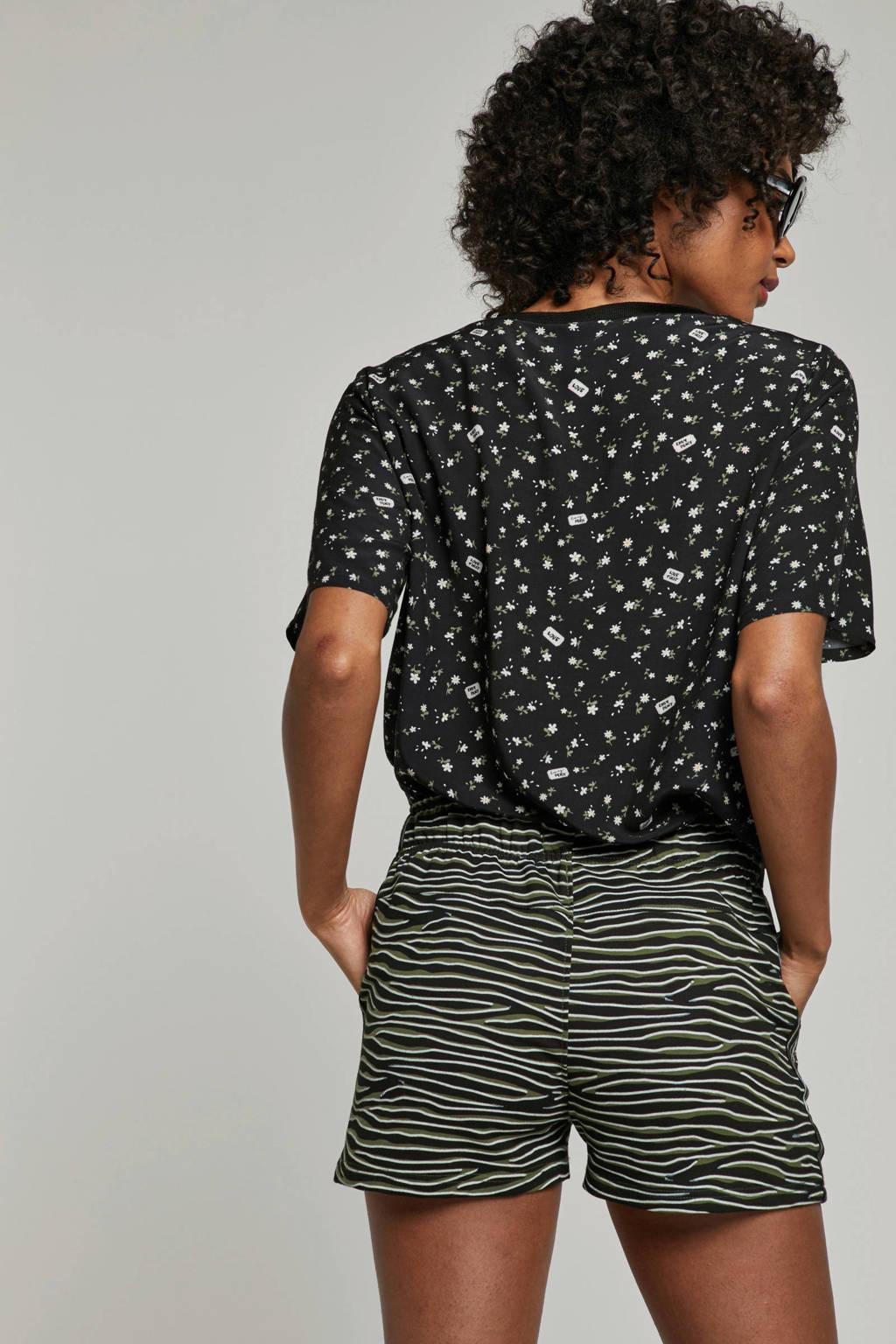 Catwalk Junkie gebloemd T-shirt zwart, Zwart/groen/wit
