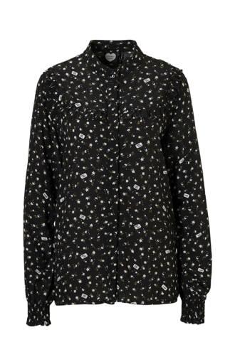gebloeme blouse zwart