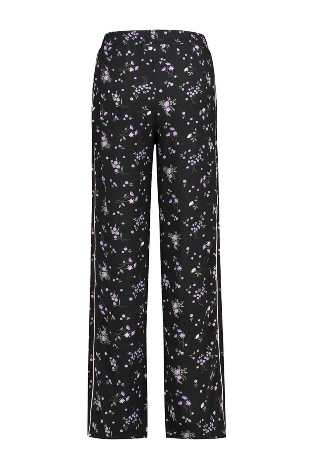 Catwalk Junkie gebloemde straight fit broek, Zwart/paars/groen