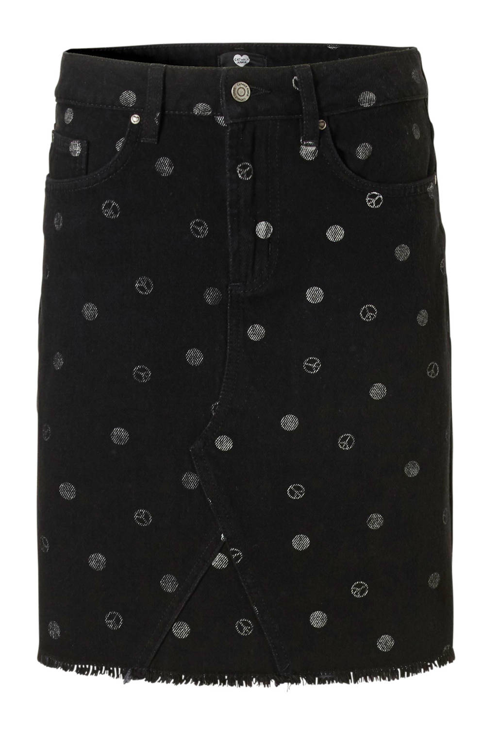 Catwalk Junkie spijkerrok met all over print zwart, Zwart
