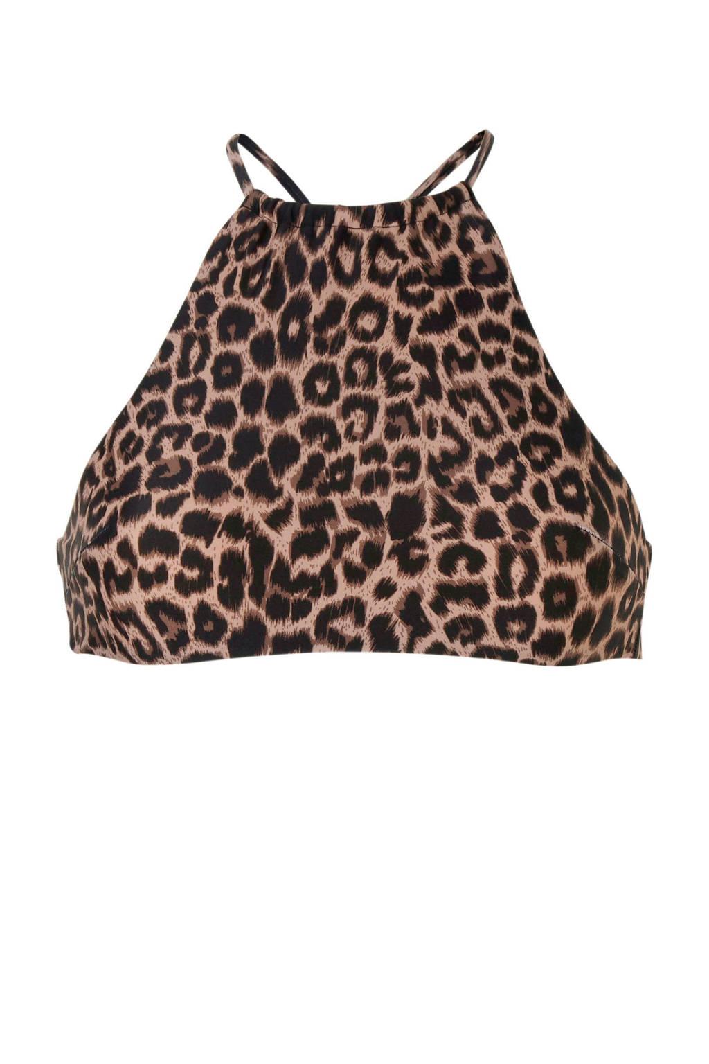 Catwalk Junkie crop bikinitop in een panterprint zwart, Zwart/bruin