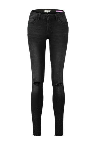 skinny jeans met all over verfspatten zwart