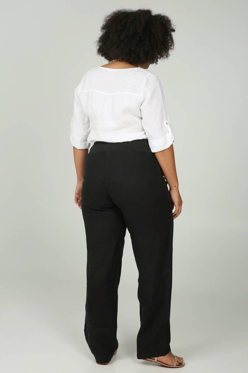 Paprika linnen broek zwart, Zwart