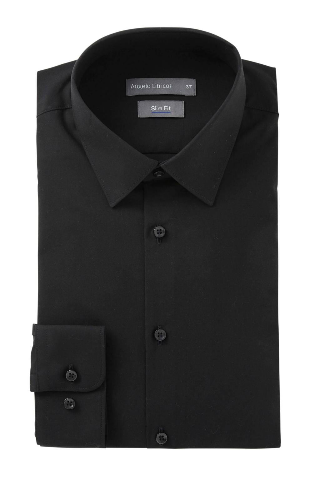 C&A Angelo Litrico slim fit overhemd zwart, Zwart