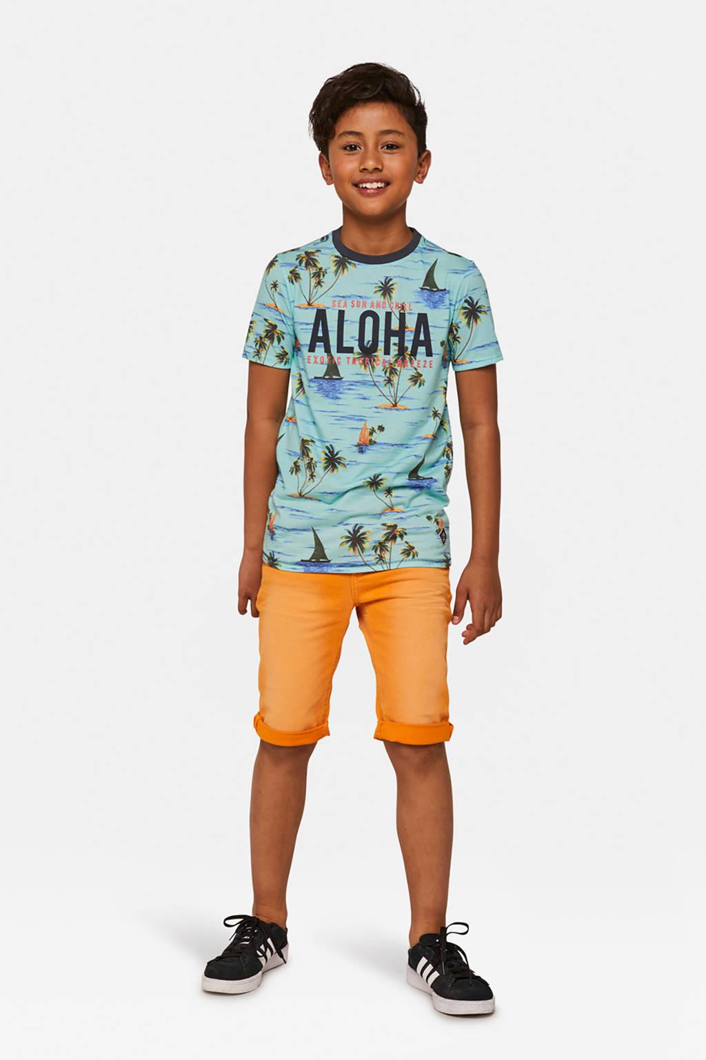 WE Fashion Blue Ridge straight fit jeans bermuda oranje, Oranje