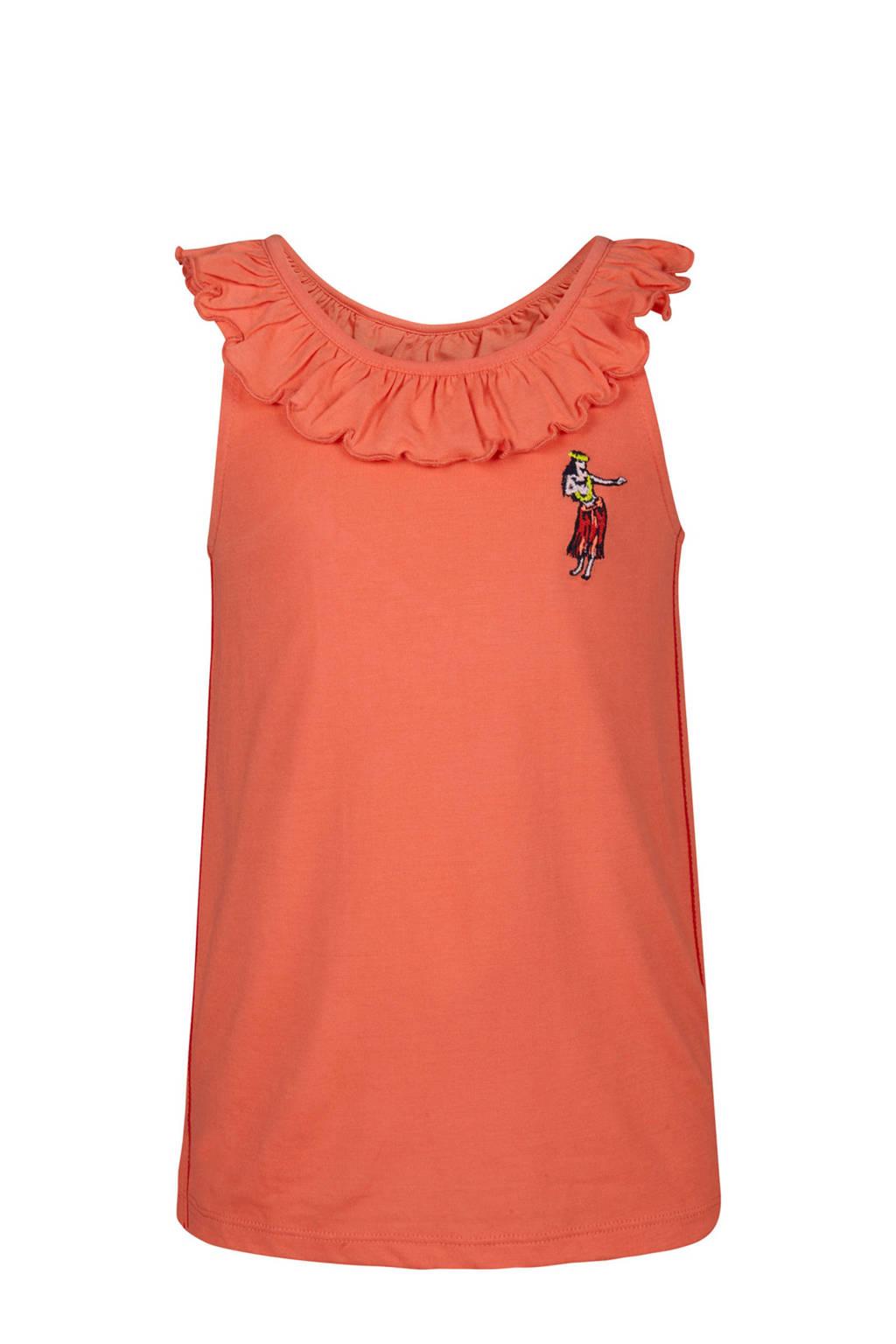 WE Fashion mouwloze top met ruches oranje, Oranje