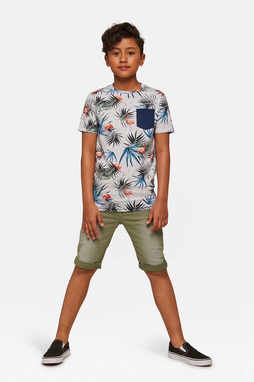 WE Fashion Blue Ridge straight fit jeans bermuda kaki, Kaki