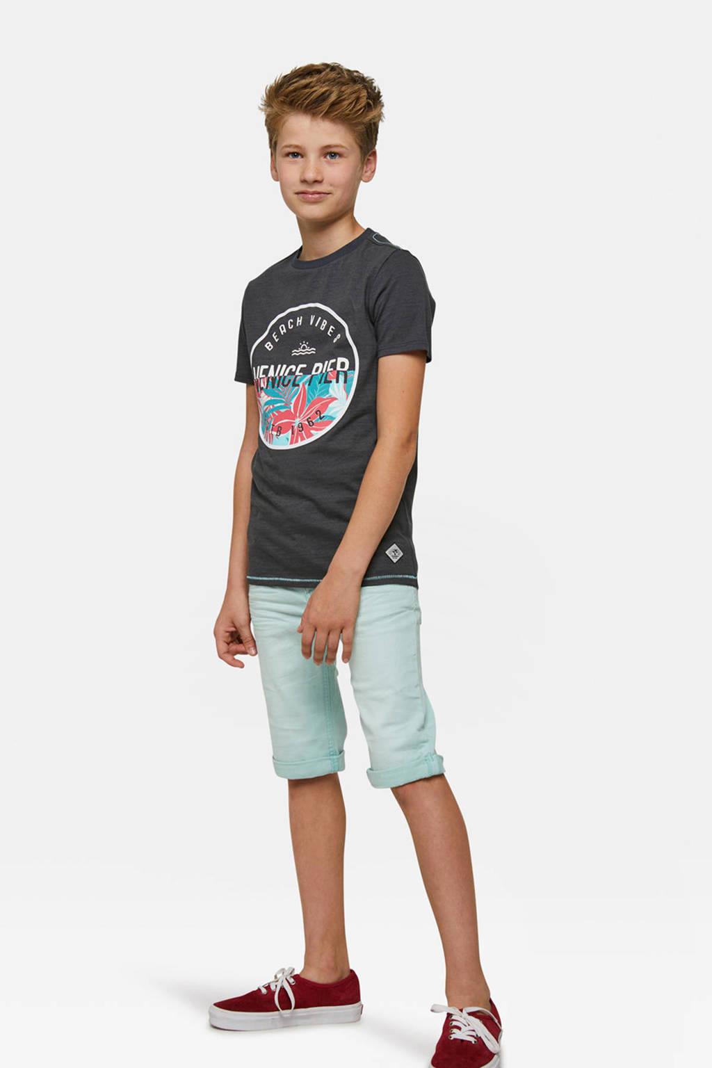 WE Fashion straight fit jeans bermuda mintgroen, Mintgroen
