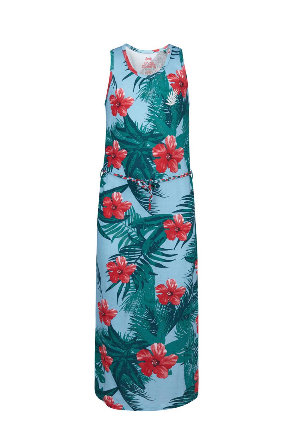 WE Fashion maxi jurk met bloemen dessin blauw, Blauw/groen/rood