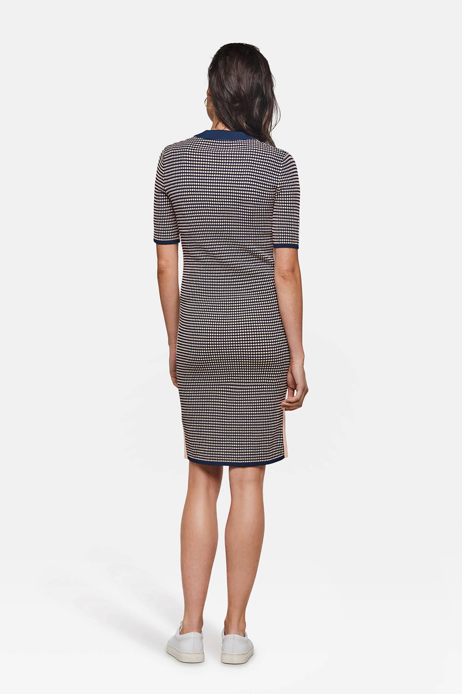 WE Fashion jersey jurk met all over print blauw | wehkamp