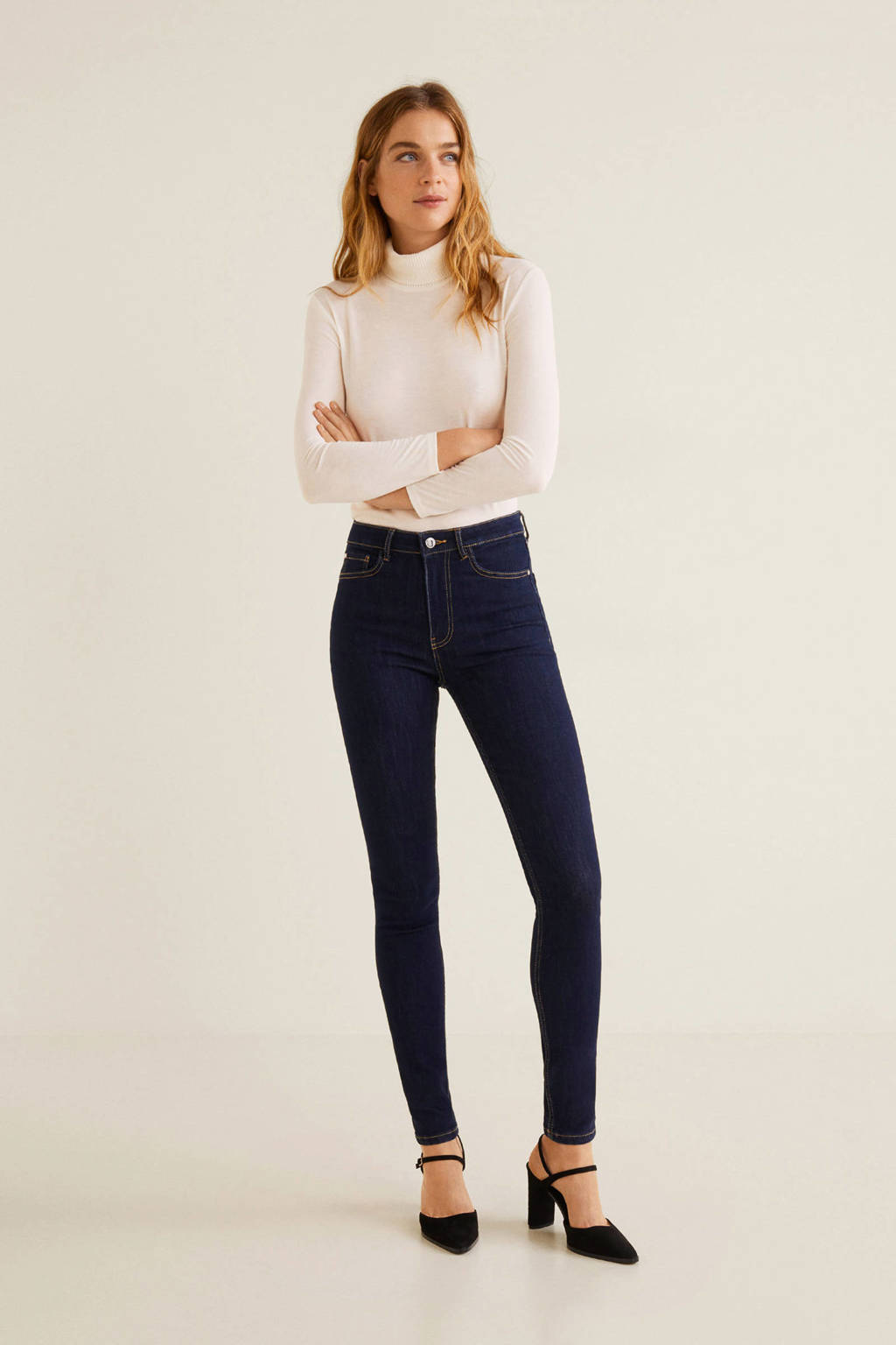 Mango 5 pocket skinny jeans dark denim, Donker blauw
