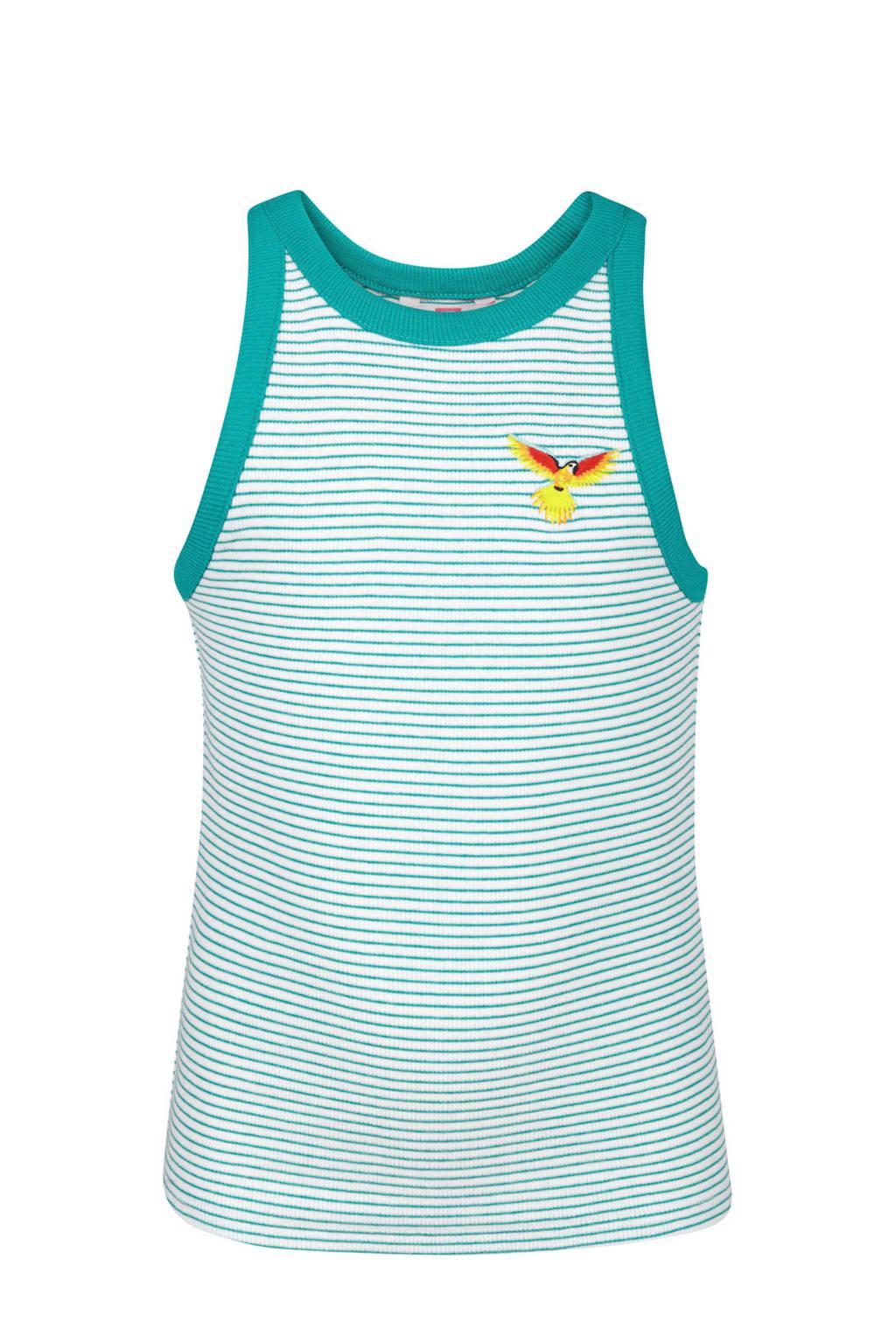 WE Fashion gestreepte top met vogel turquoise, Turquoise/wit