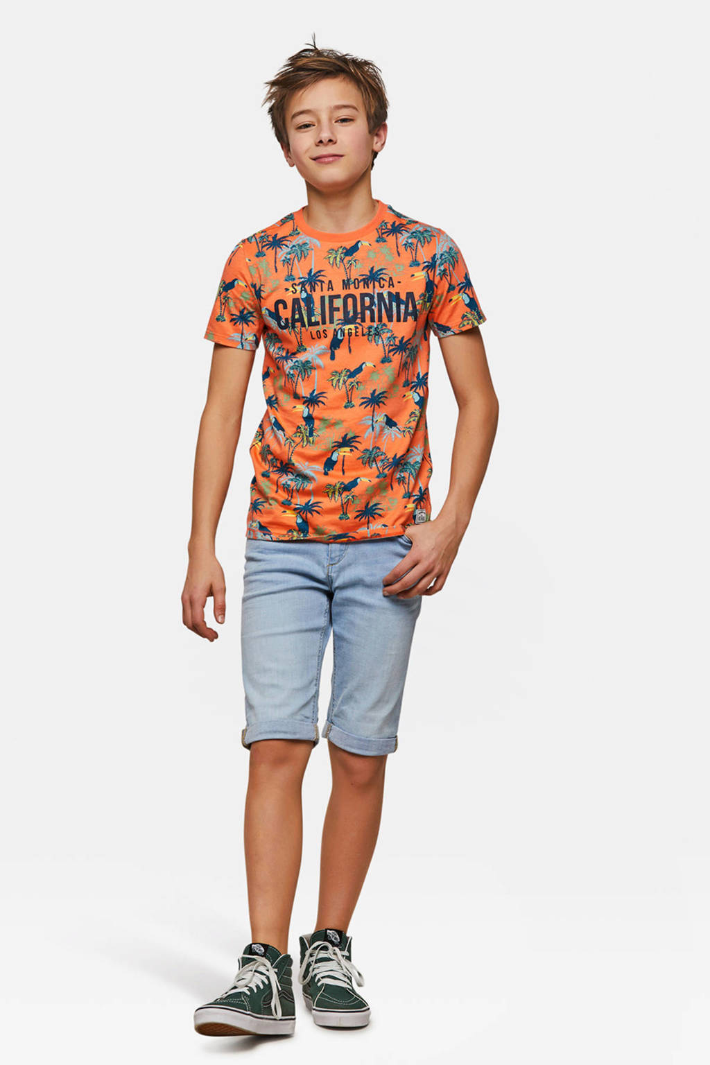WE Fashion T-shirt met allover dessin oranje, oranje/multicolor