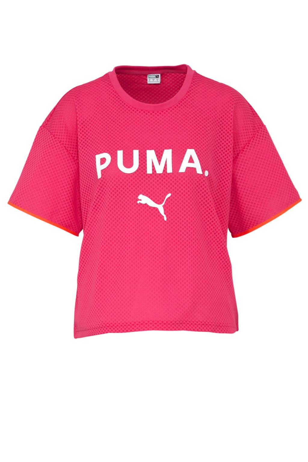 Puma T-shirt met printopdruk roze/paars, Roze/paars