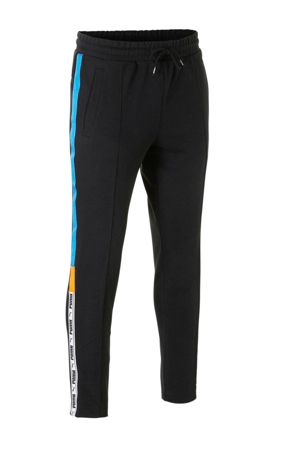 Puma 7/8 joggingbroek met zijstreep zwart/blauw, Zwart/blauw/oranje/wit