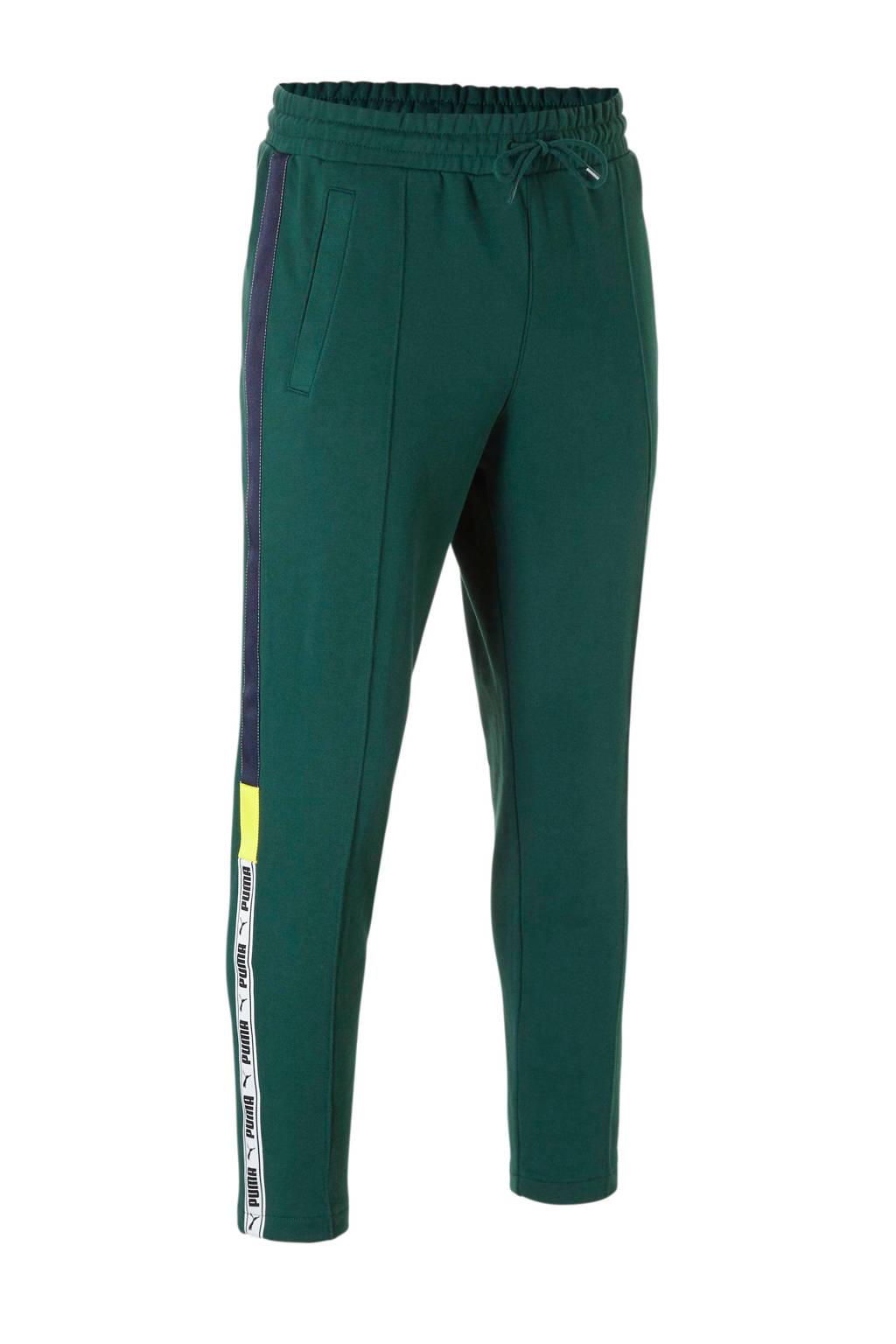 Puma 7/8 joggingbroek met zijstreep groen, Groen/donkerblauw/geel/wit