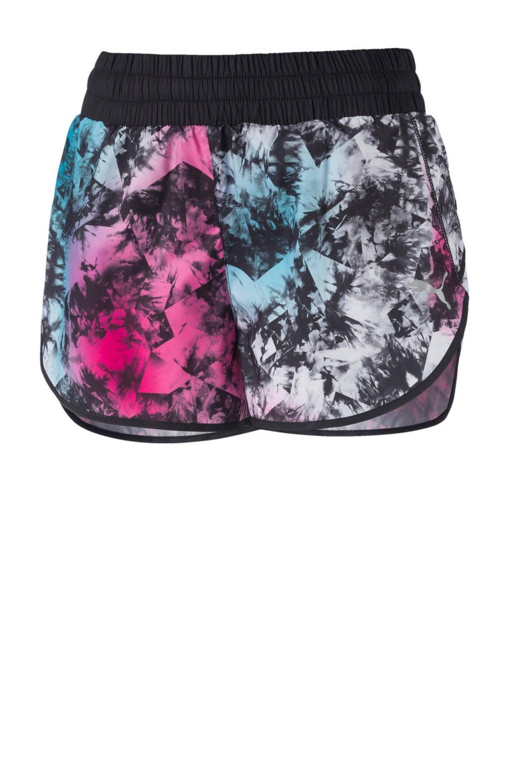 Puma sportshort met all over print roze/blauw/zwart, Roze/blauw/zwart