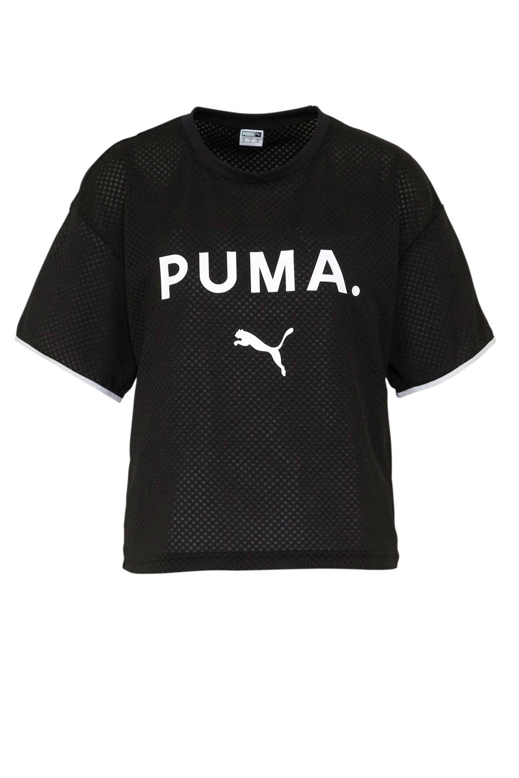 Puma T-shirt met printopdruk zwart/wit, Zwart/wit