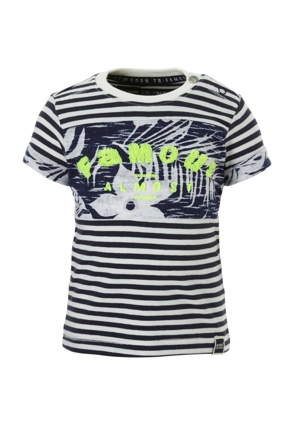 born to be famous. gestreept T-shirt met tekst blauw, Donkerblauw/wit/lime