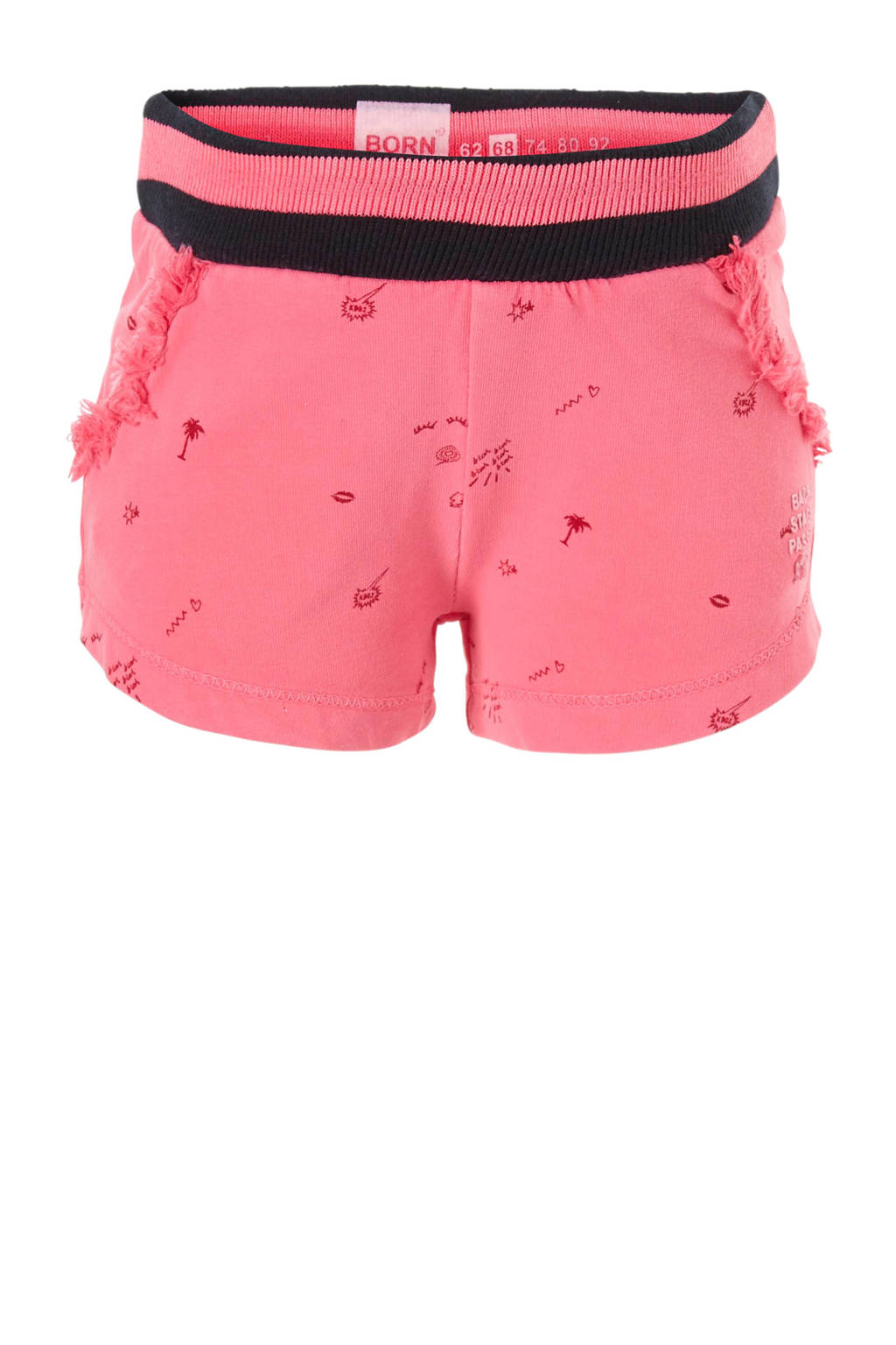 born to be famous. sweatshort met all over print roze, Roze