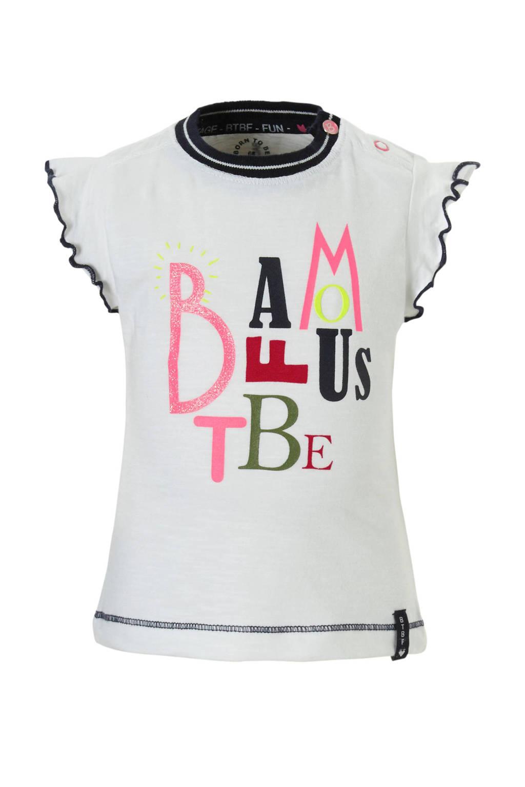 born to be famous. T-shirt met tekst wit, Wit