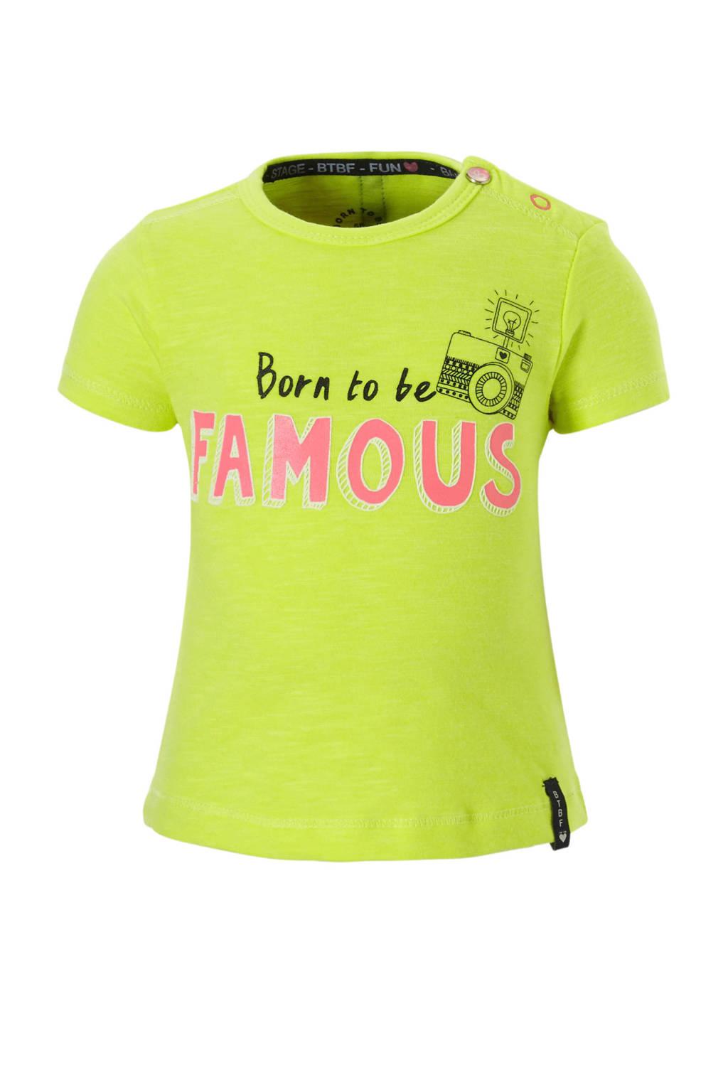 born to be famous. T-shirt met logo geel, Geel
