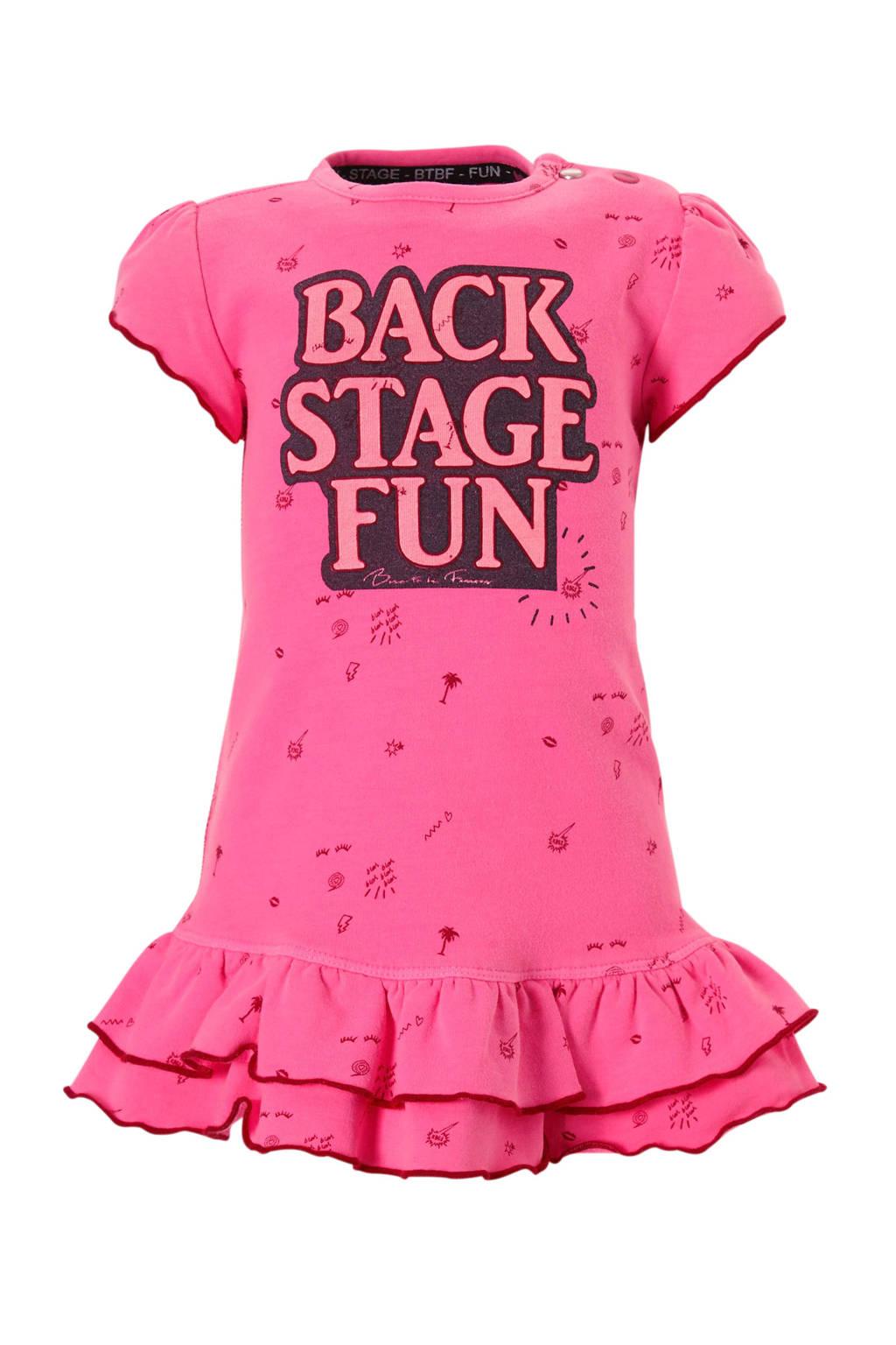 born to be famous. jurk met tekst en all over print roze, Roze
