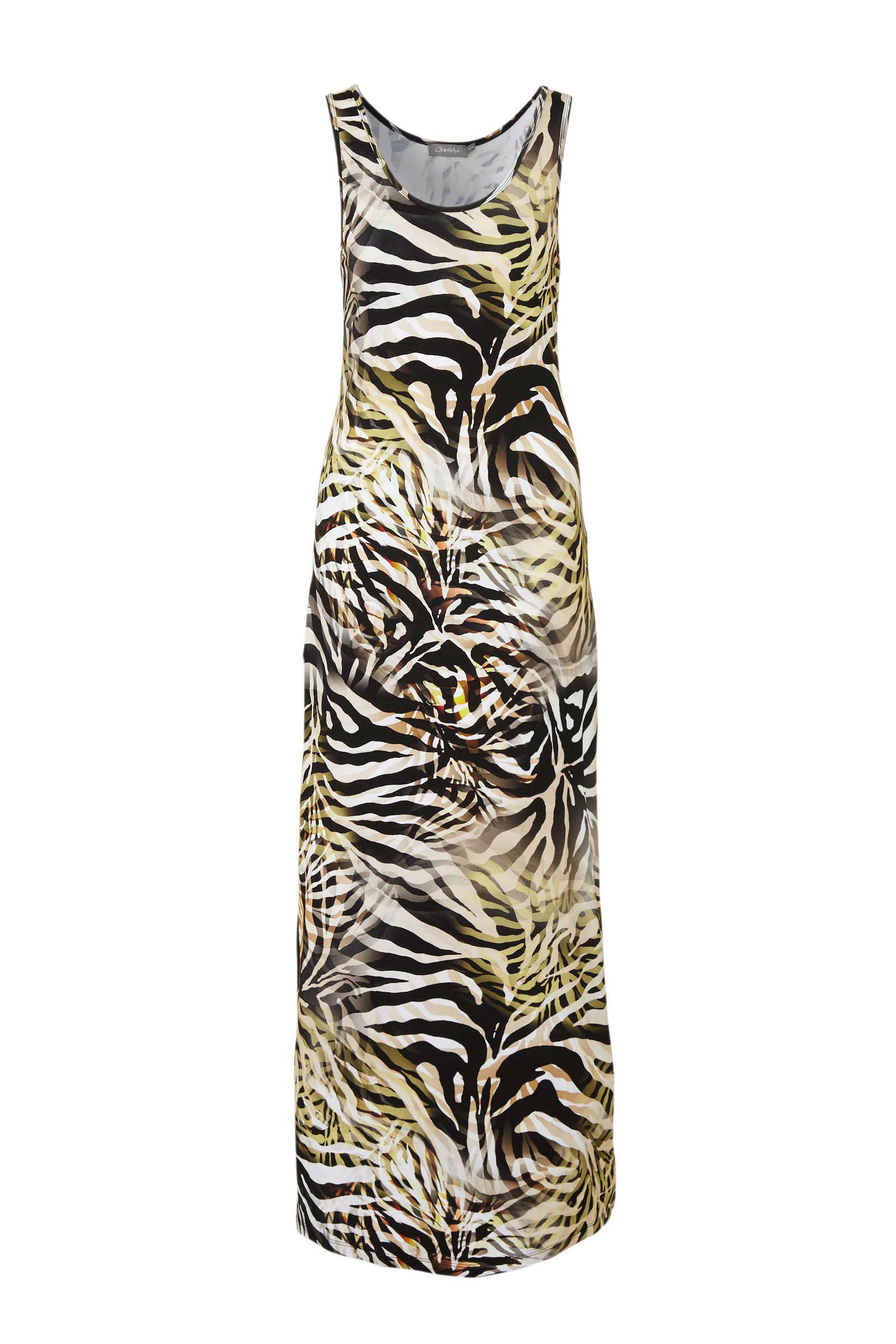 jersey maxi jurk met zebraprint bruinzwartgroen