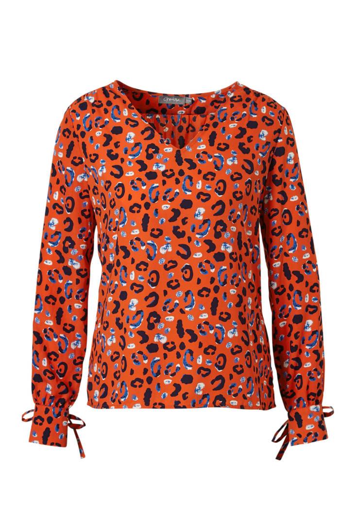 blouse rood met Geisha panterprint blouse Geisha PHwSOR0qx