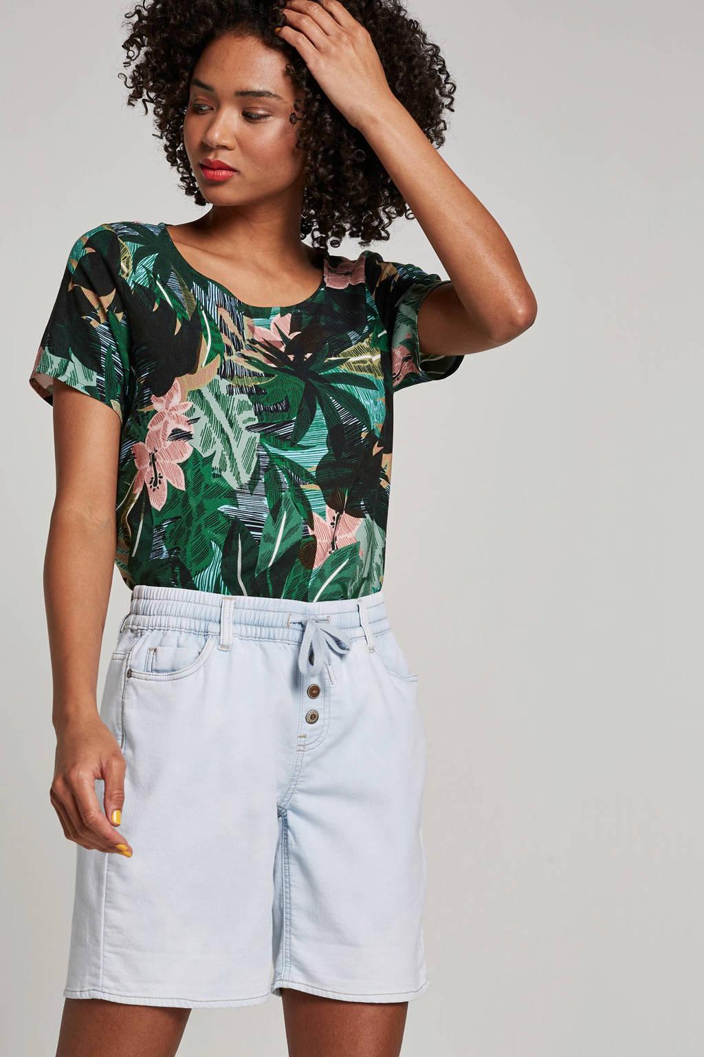 Geisha T-shirt met bladprint groen, Groen/roze