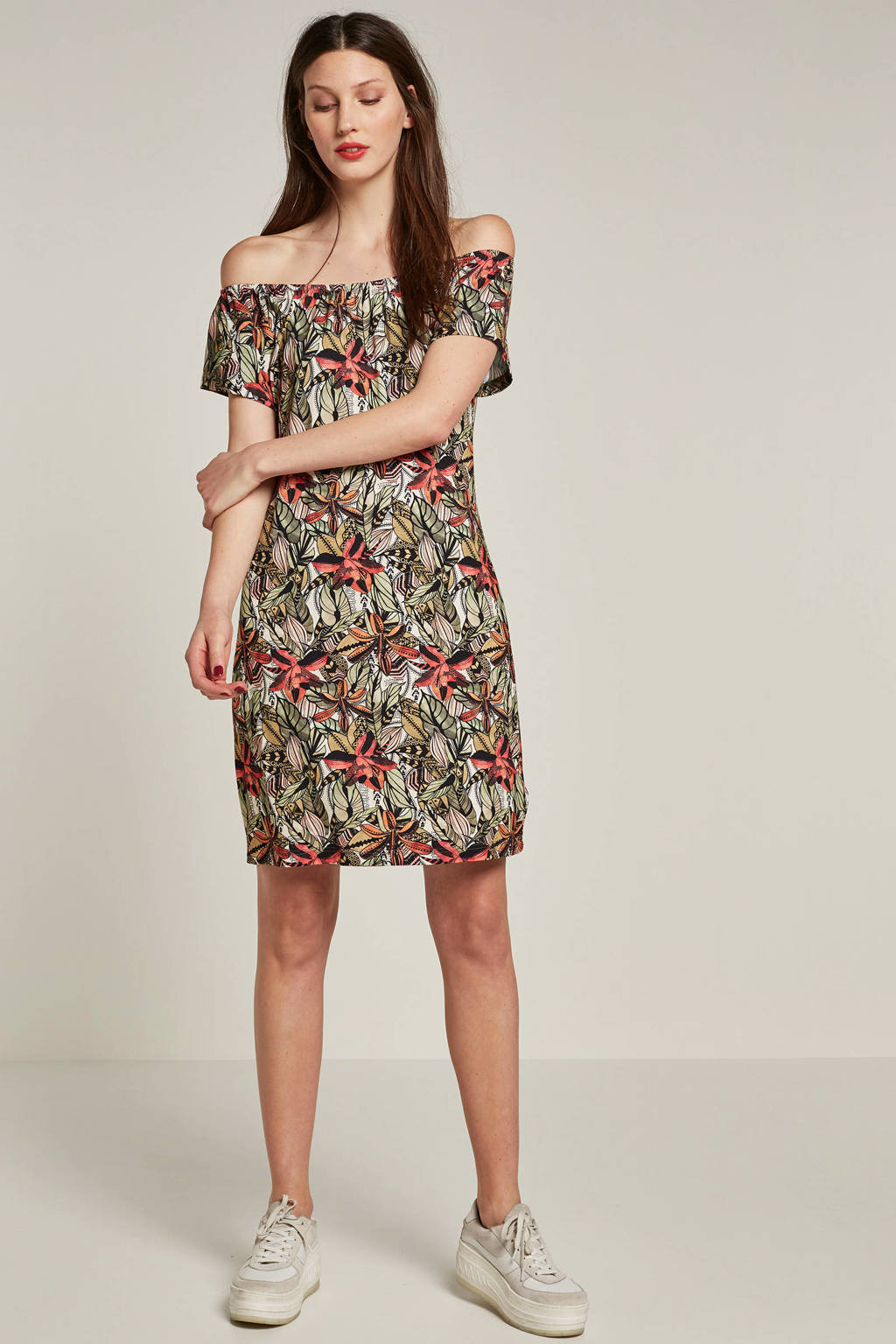 Geisha jurk met all-over print, Groen/multi