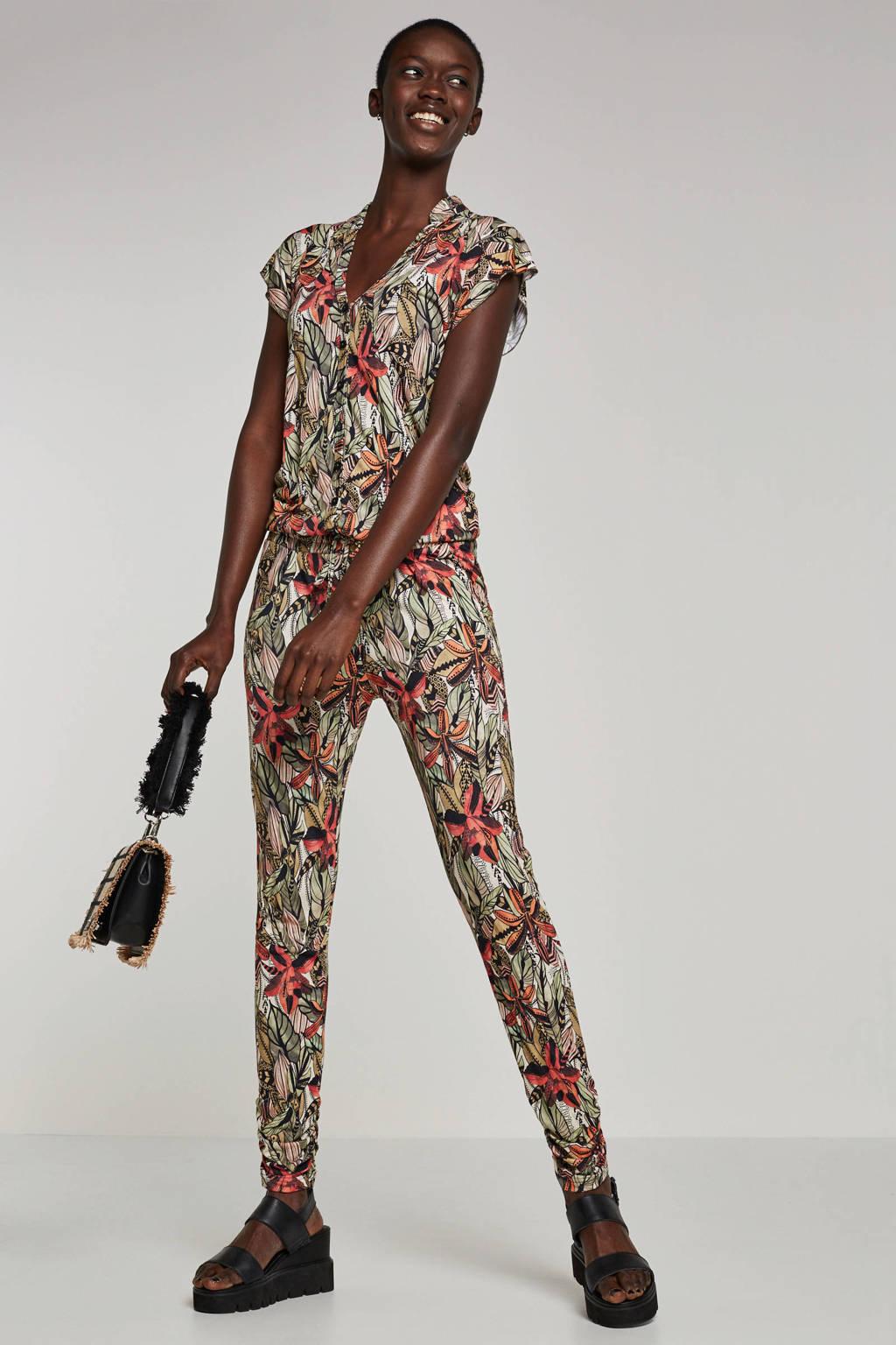 Geisha jumpsuit met all-over print, Groen/multi