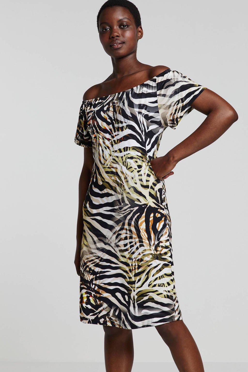Geisha off shoulder jurk met zebra print, Bruin/zwart/groen